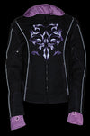 Ladies Premium Nylon Motorcycle Purple Jacket with Reflective Tribal Detail - Divine Leather USA - 4