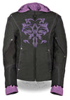 Ladies Premium Nylon Motorcycle Purple Jacket with Reflective Tribal Detail - Divine Leather USA - 1