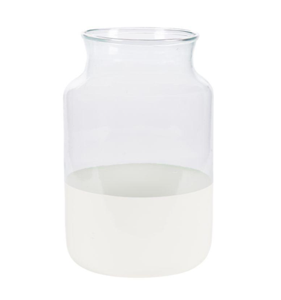 EUROPEAN RECYCLED MOUTH BLOWN GLASS JAR - WHITE