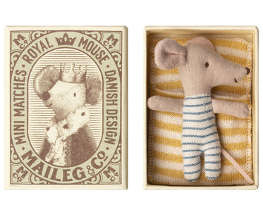 Sleepy Wakey Mouse in Blue Stripes in Matchbox