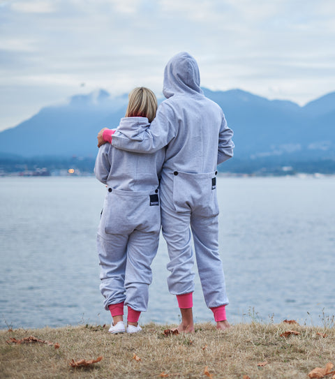 Couple's butt flap onesies for comfort instead of a blanket