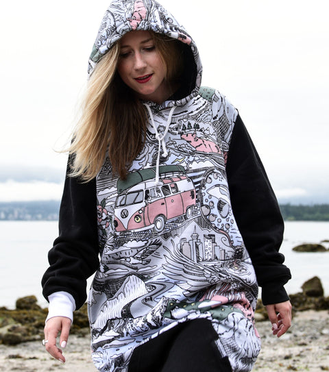 nadine nevitt for Thuggies drawing VW van sweathirt print PNW shirt