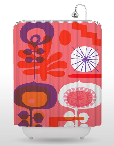 NCC Red Flower Shower Curtain