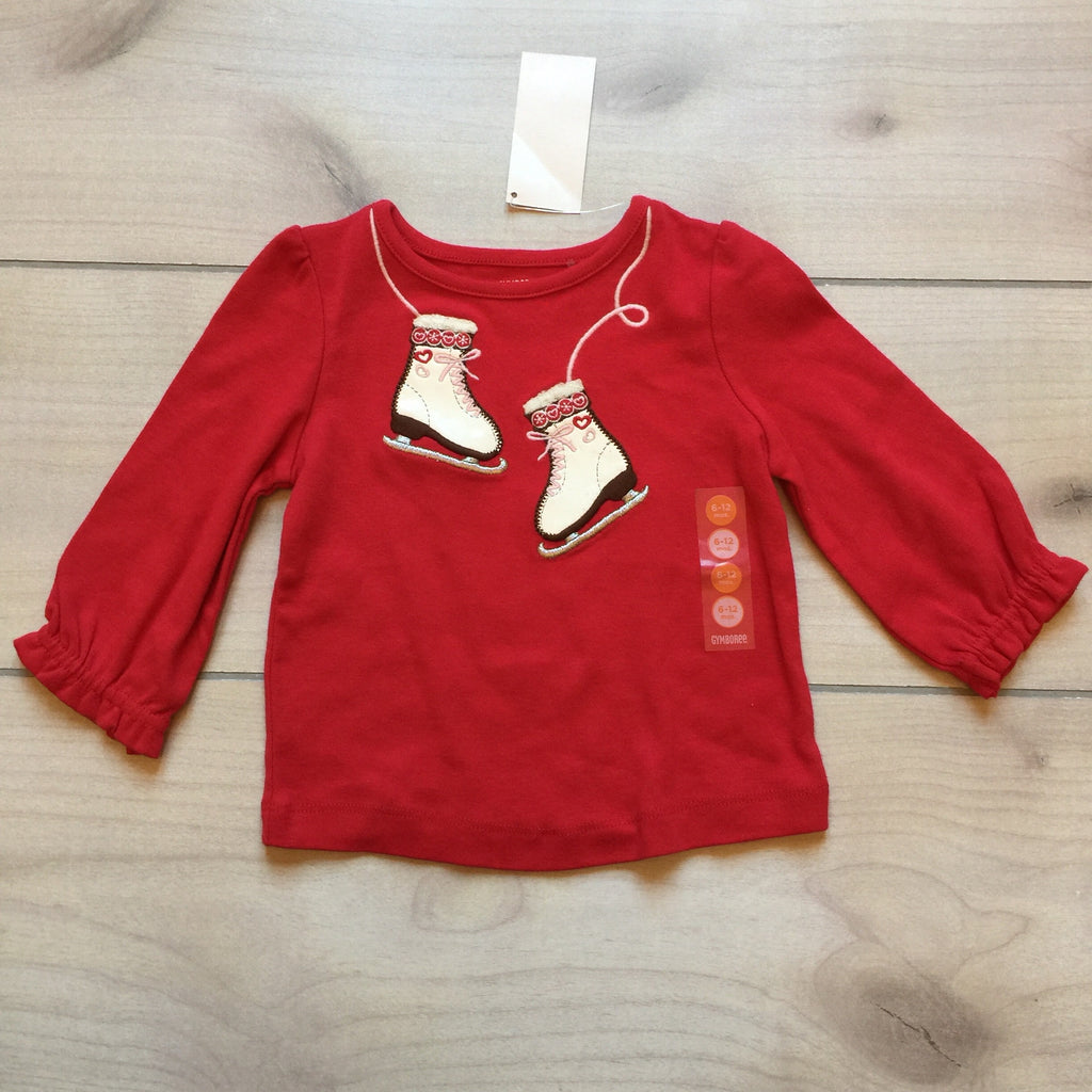 NEW Gymboree Red Ice Skate Appliqué Shirt
