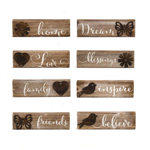Wood Message Signs with Tin Detail