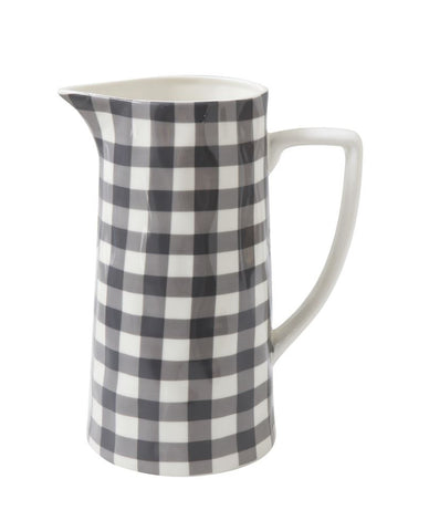 Stoneware Pitcher, Black Gingham