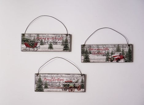 Country Christmas Slat Ornament