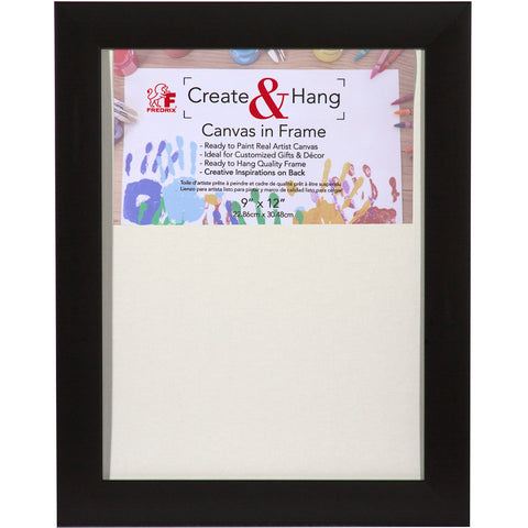 "Fredrix Black 9"" x 12"" Create and Hang Canvas in Frame"