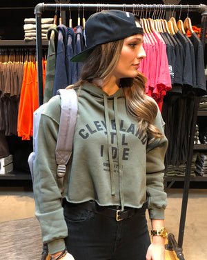 Cleveland Til I Die Military Green Ladies Crop Hoodie