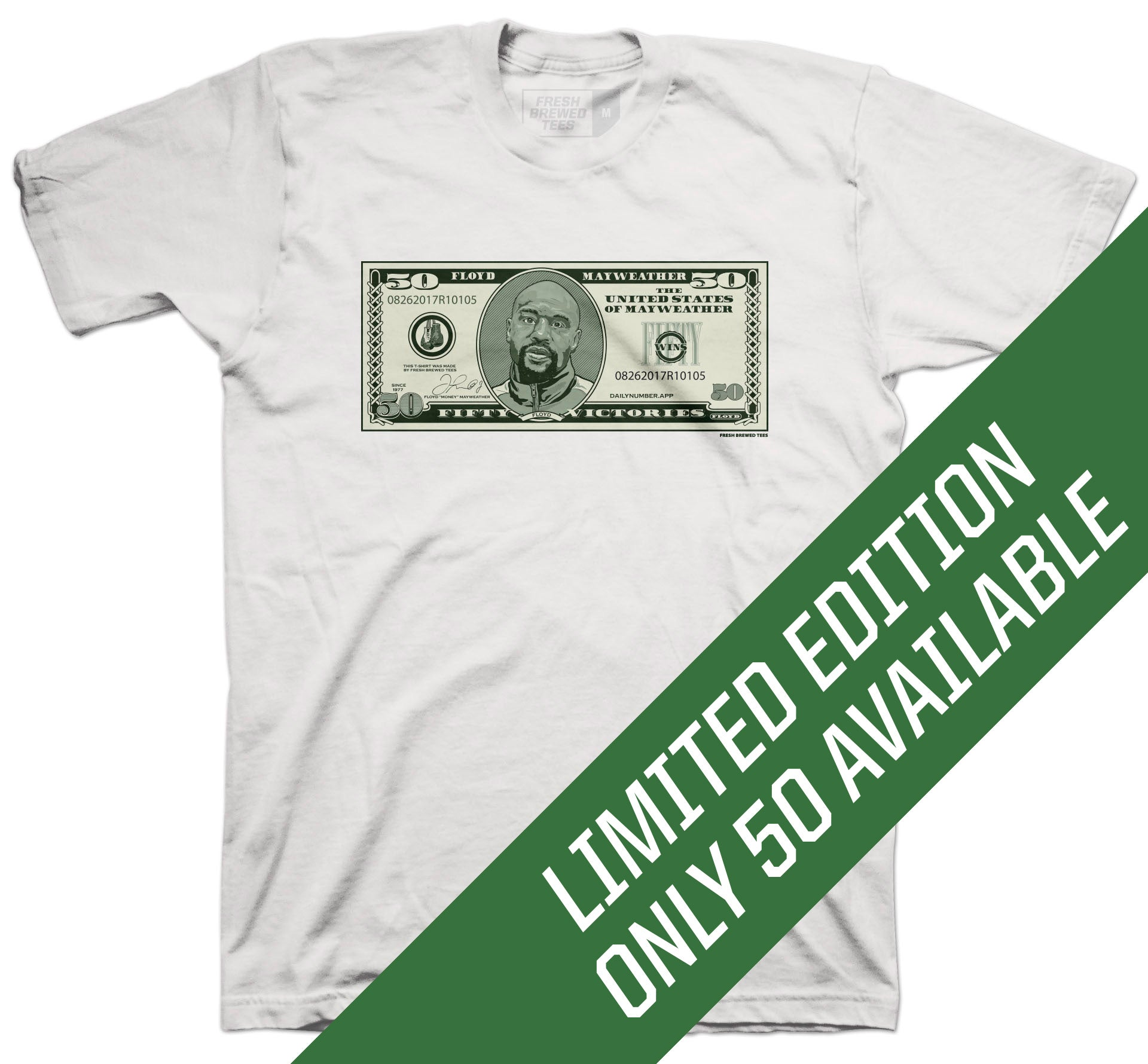 Floyd Mayweather 50 Dollar White T-Shirt