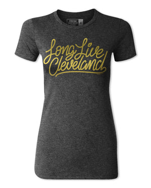 Long Live Cleveland Charcoal Black Ladies T-Shirt