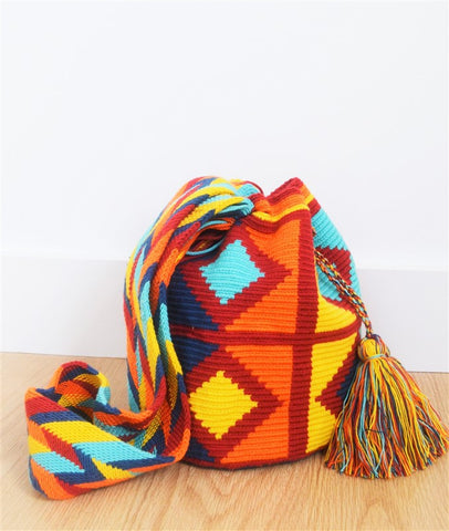wayuu mochila orange red blue