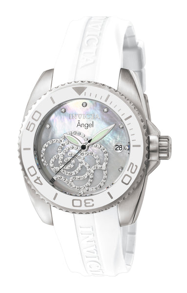 Invicta Women's 0486 Angel Quartz 3 Hand White Dial Watch