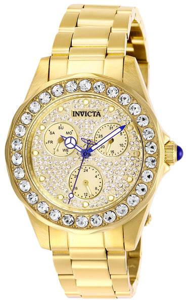 Invicta Women's 28461 Angel Quartz Chronograph Pave, Gold Dial Watch