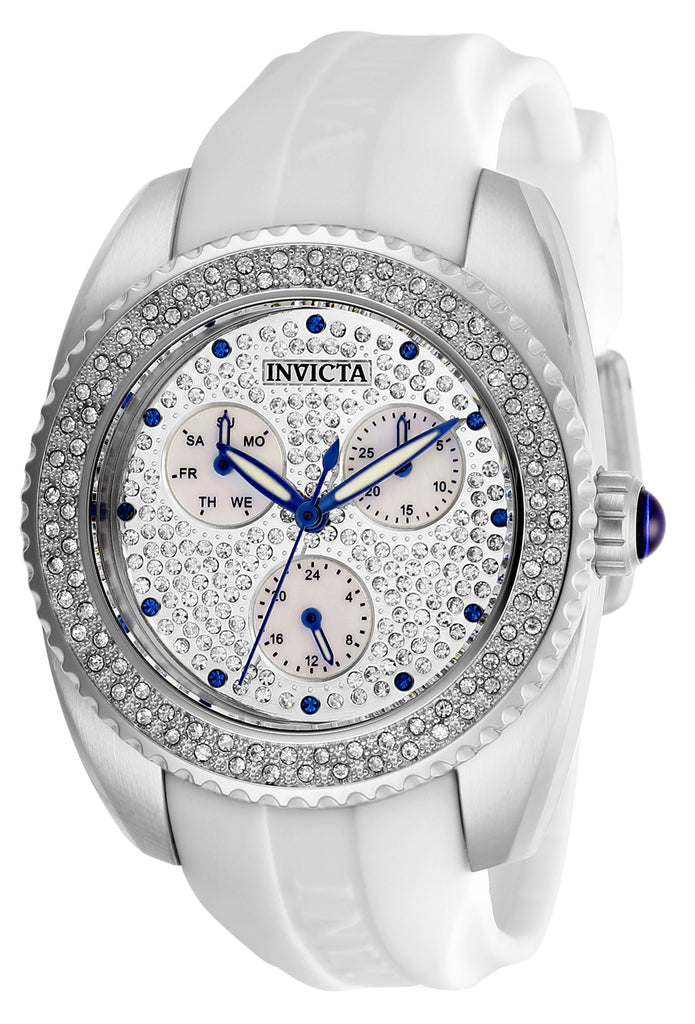 Invicta Women's 28482 Angel Quartz 3 Hand Pave, White Dial Watch