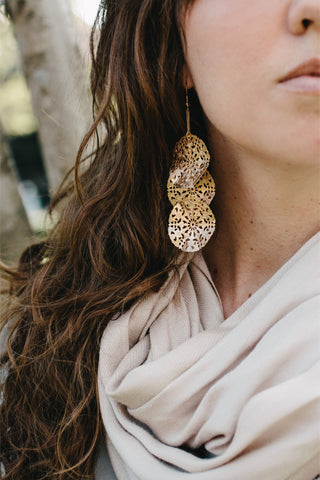 GC700 - Zellige Pattern layered gold earrings