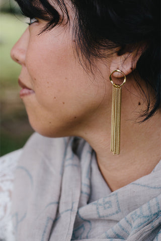 S610 - Gold Hoop with Tassel Earrings