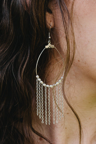 S616 - Statement Silver Chain Cascade Earrings