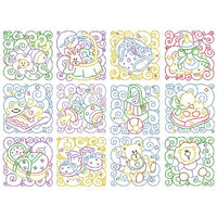 Baby quilt blocks linework machine embroidery designs by sweetstitchdesign.com