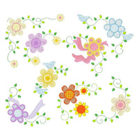 Floral Corners - set of 8 machine embroidery designs by sweetstitchdesign.com