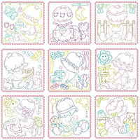 Sunbonnet baby block machine embroidery designs by sweetstitchdesign.com