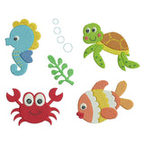 Set of 6 sea life  machine embroidery designs by sweetstitchdesign.com