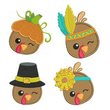 Thanksgiving turkey machine embroidery designs by sweetstitchdesign.com