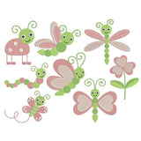 Pink bugs machine embroidery designs by sweetstitchdesign.com