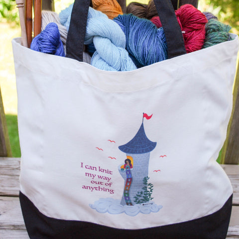 "Rapunzel Knits Tote Bag - ""I can knit my way out of anything"" - for knitters"