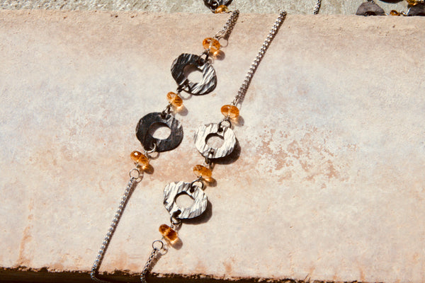 Citrine Chain Necklace with Small Washers