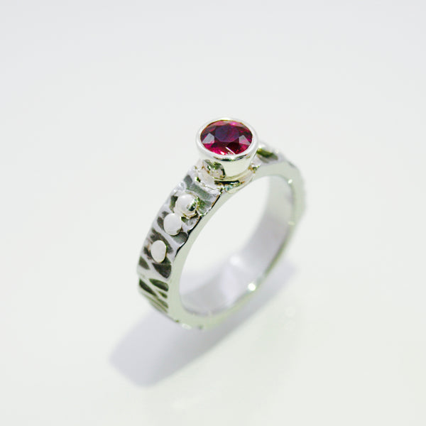 Pink Tourmaline Ring with Sterling Silver Rivets
