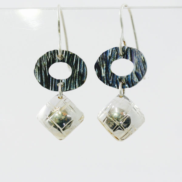 Stainless Steel Disc Earrings with Sterling Silver Squares