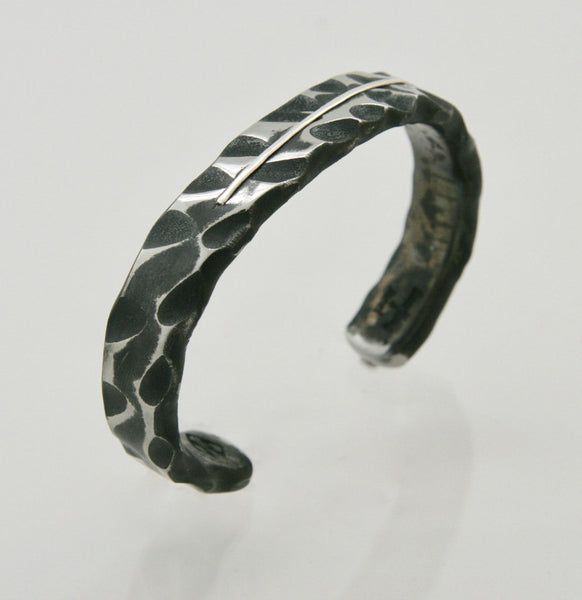 Wide Random Pattern Cuff Bracelet with Sterling Silver Inlay: Men & Women