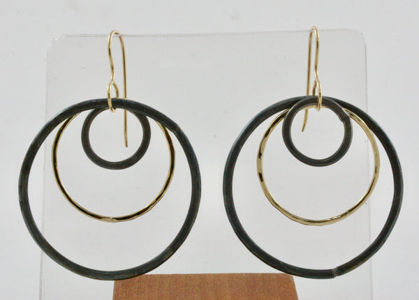18K Gold & Steel Triple Hoop