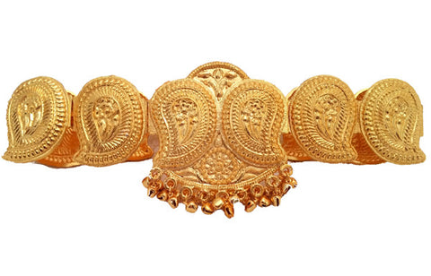 Plain Gold Mango Design Waist Belt - Oddiyannam