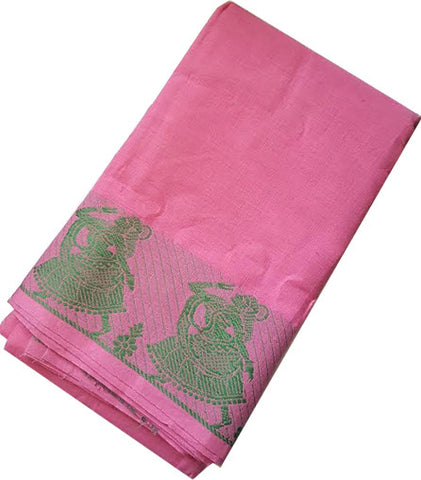 Dance Practice Saree Dancing Dolls Baby Pink with Green Border