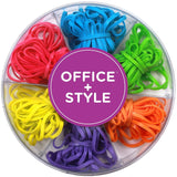 Office+Style Colored Rubber Bands with Close-Lid Storage Container 120 Pieces - Chickadee Solutions - 1
