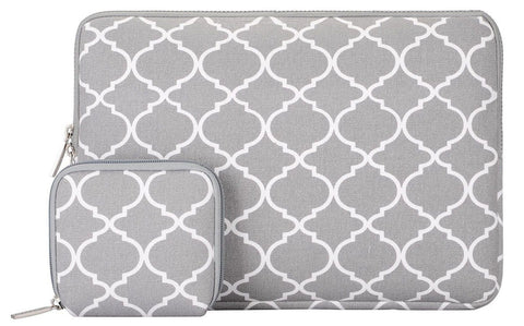 Laptop Sleeve Mosiso Quatrefoil/Moroccan Trellis Style Canvas Fabric 11.6 Inc... - Chickadee Solutions - 1