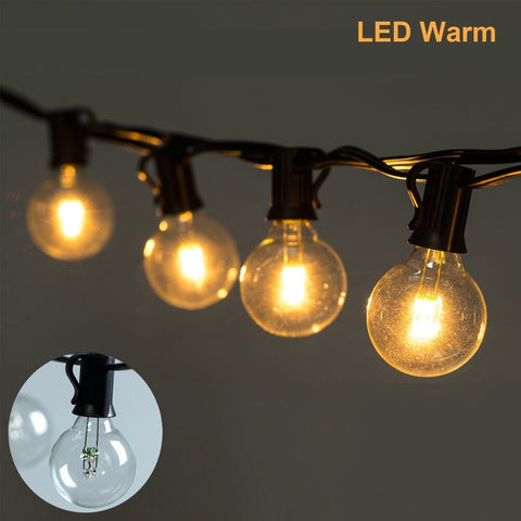 25Ft LED G40 String Lights with 25 LED Warm Globe Bulbs-UL Listed for Indoor/... - Chickadee Solutions - 1
