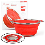 Collapsible Silicone Colander with Stainless Steel Base by Good Cooking - Chickadee Solutions - 1