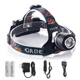 Rechargeable LED Headlamp 2000Lm Zoomable 3 Modes Handsfree Headlight Waterpr... - Chickadee Solutions - 1