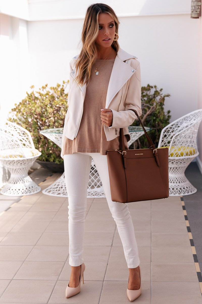LUNA FAUX LEATHER JACKET - CREAM