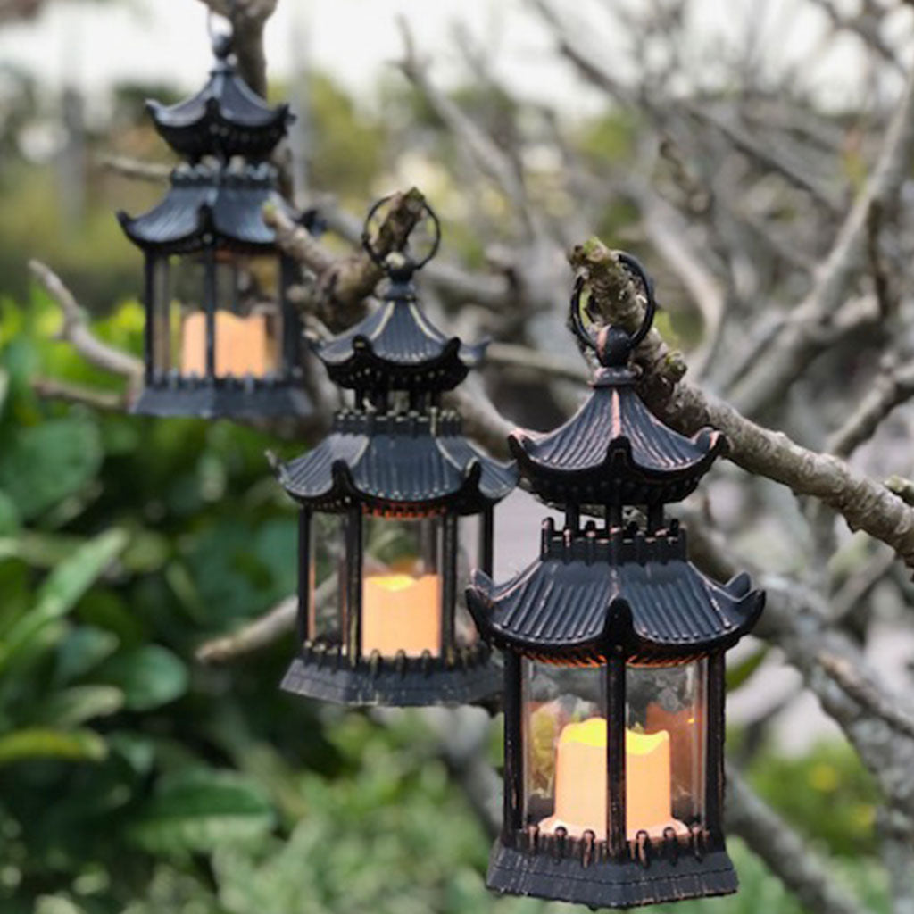 pagoda led lanterns illuminated