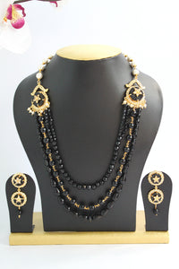 Black Beaded American Diamond Designer Necklace Set - Jewellery - SharePyar