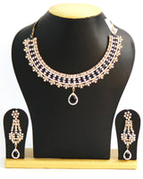 Elegant American Diamond Necklace Set, Indigo Blue