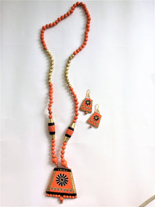 Long Terracotta Orange Necklace Set