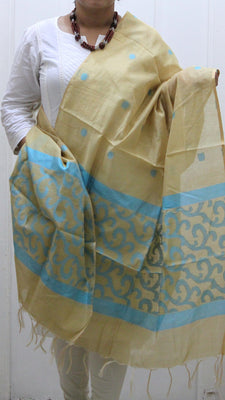 Pure Chanderi Silk Dupatta, Khaki - Dupatta and Stoles - SharePyar