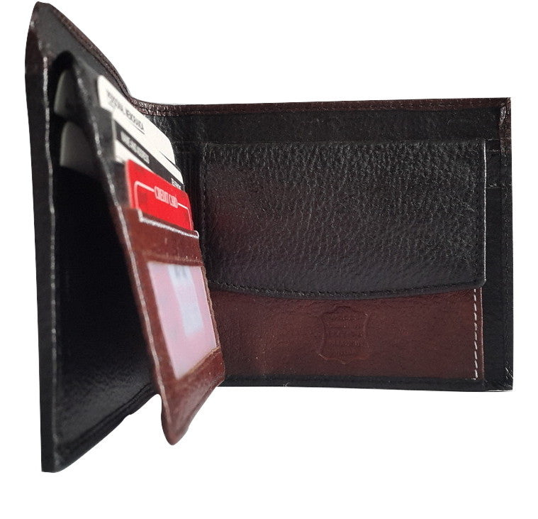 Woods Genuine Leather Two Fold Three Layered Wallet, Black/Dark Brown - SharePyar - 1