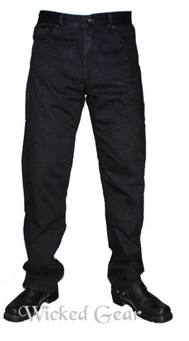 Image of Black Denim Motorcycle Jeans With DUPONT™ KEVLAR® FIBER