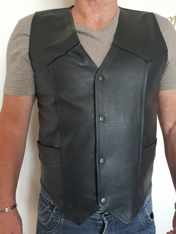 Image of Genuine Leather Full Grain Motorcycle Vest